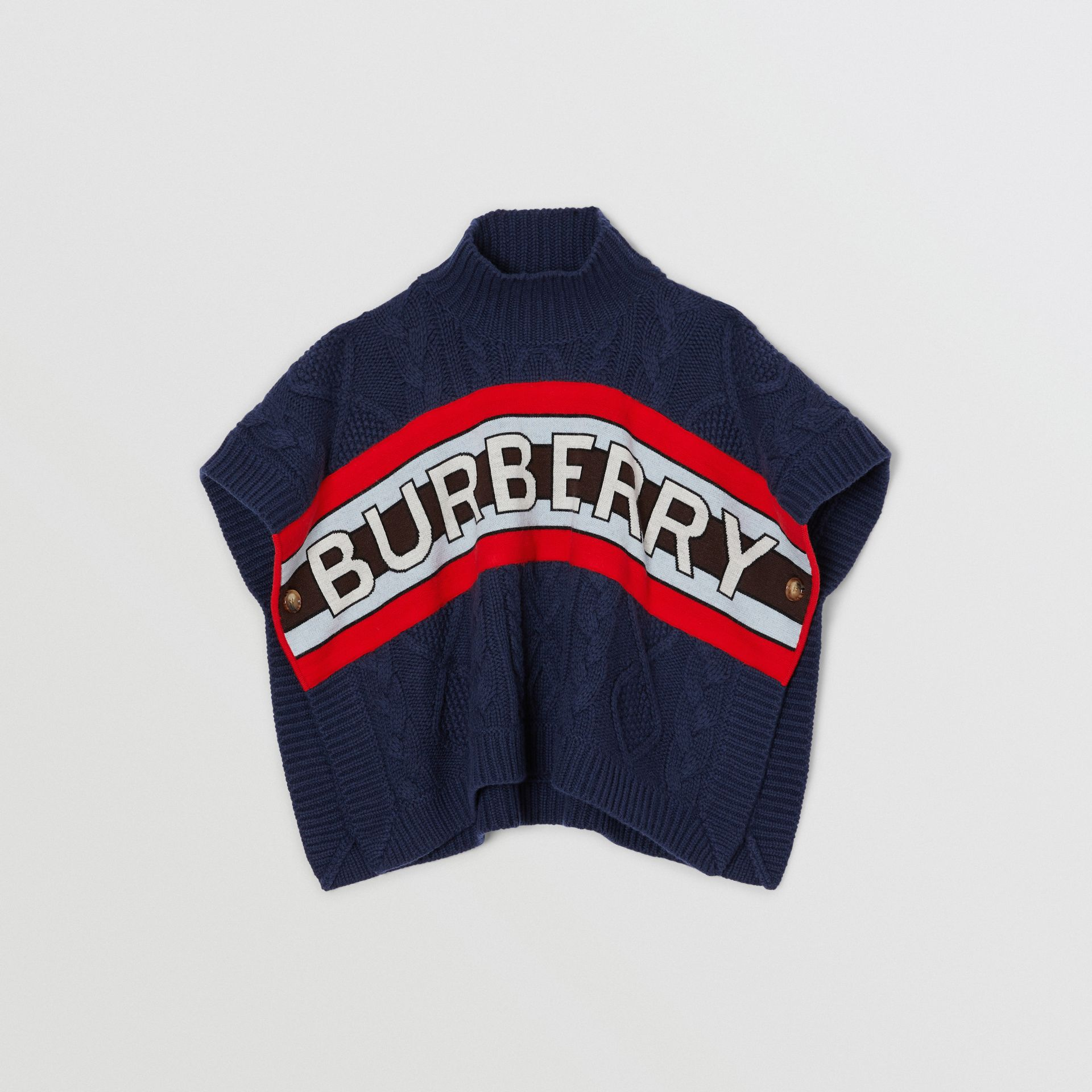 Logo Panel Cable Knit Wool Cashmere Poncho in Navy | Burberry Singapore - gallery image 0
