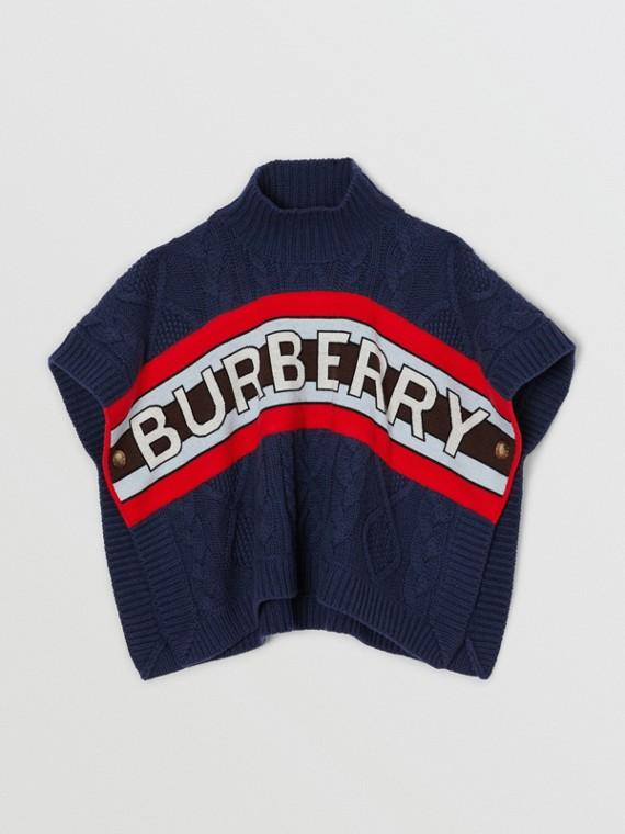 Poncho in lana e cashmere con lavorazione a trecce e pannello con il logo (Navy)