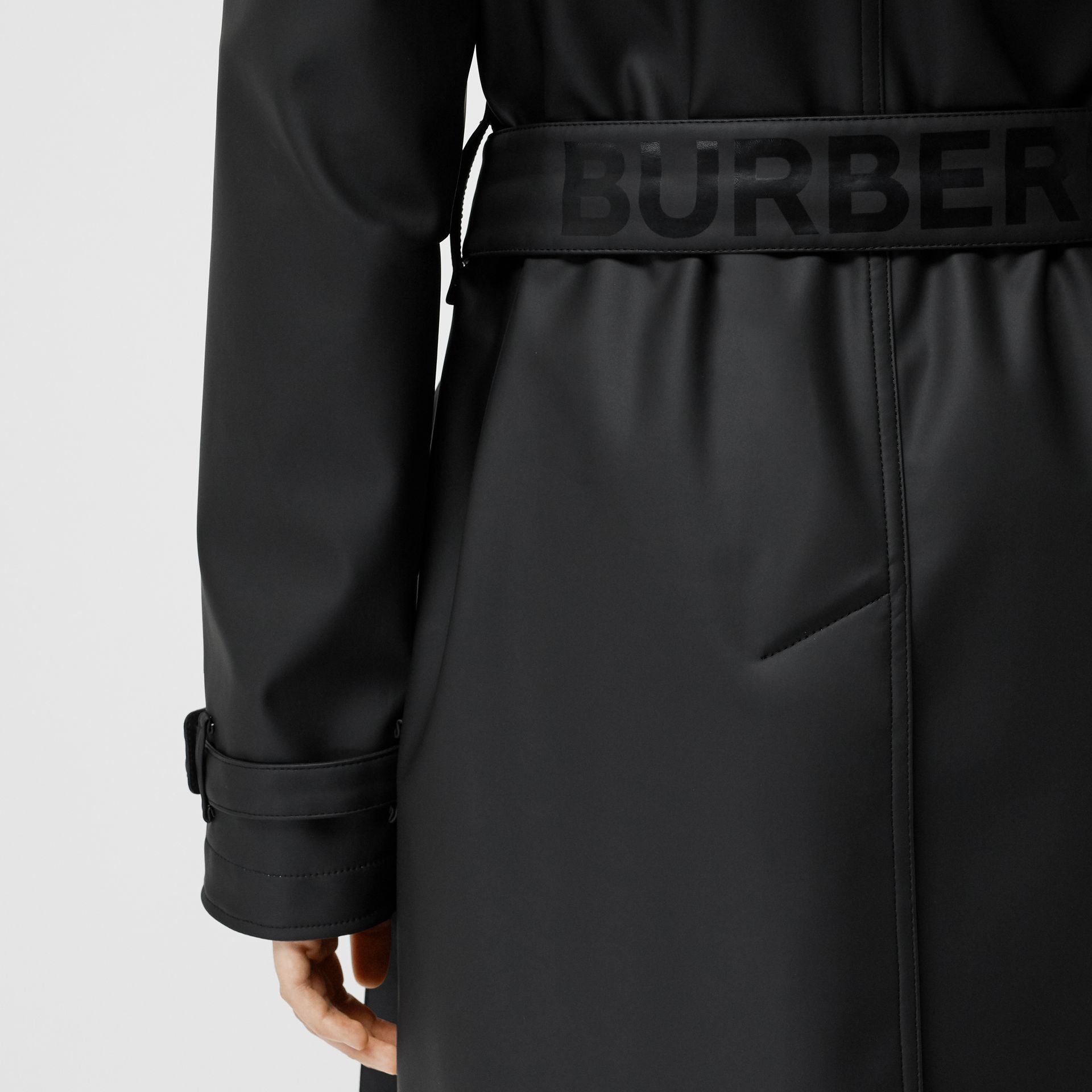 Logo Detail Showerproof Trench Coat in Black/white - Women | Burberry - gallery image 6