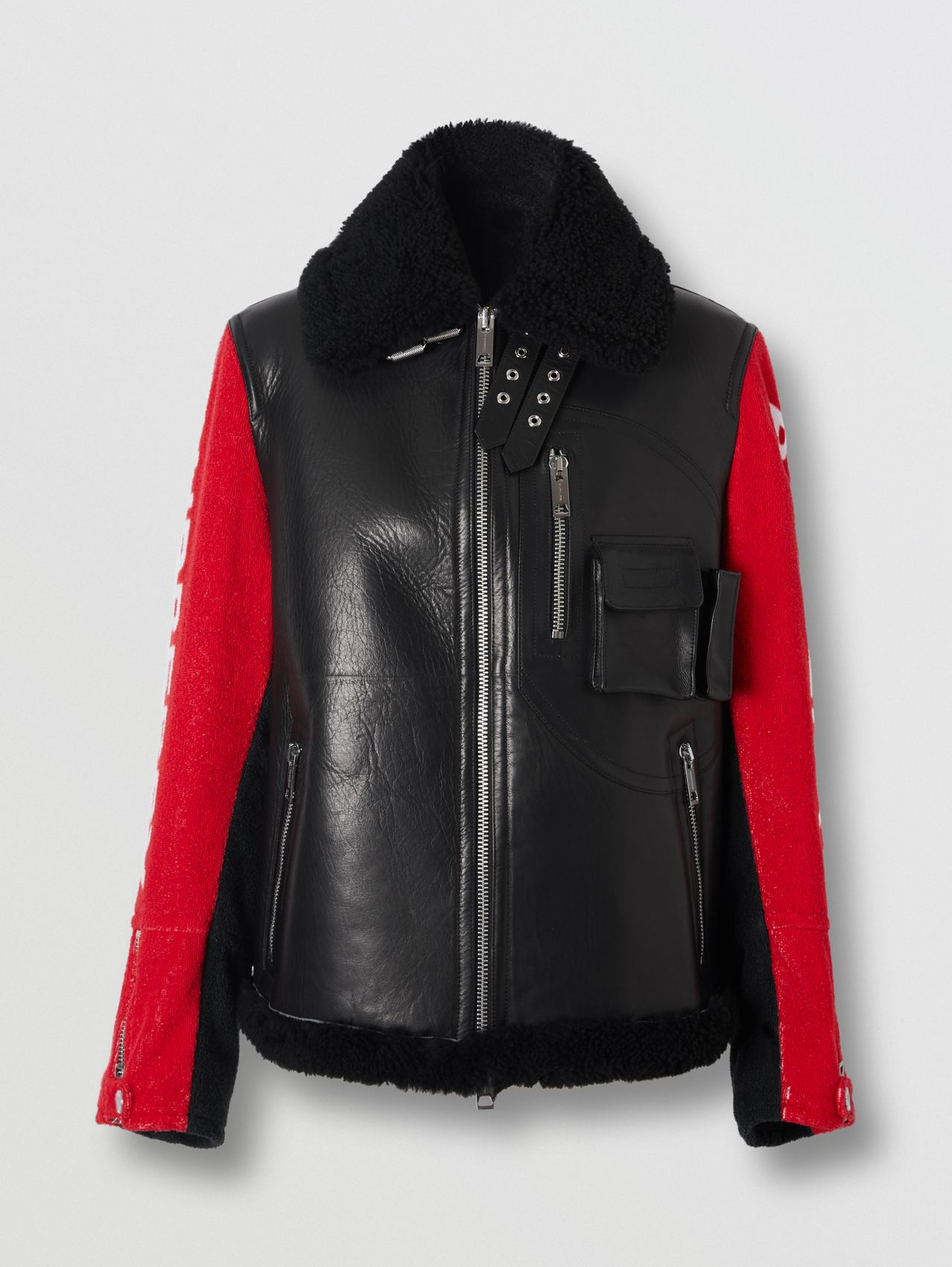 Contrast Sleeve Leather and Shearling Jacket in Black
