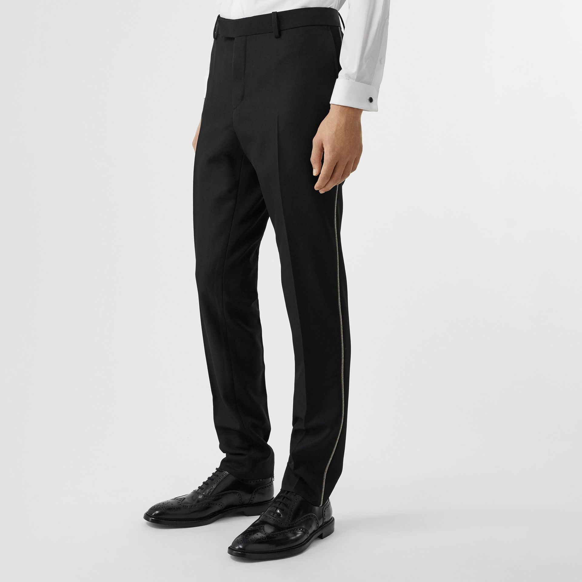 Soho Fit Bullion Stripe Wool Twill Tailored Trousers in Black - Men | Burberry Australia - gallery image 4