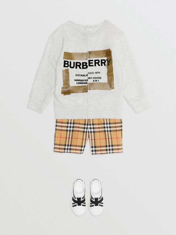Horseferry Print Cotton Sweatshirt in White Melange | Burberry United Kingdom - cell image 2