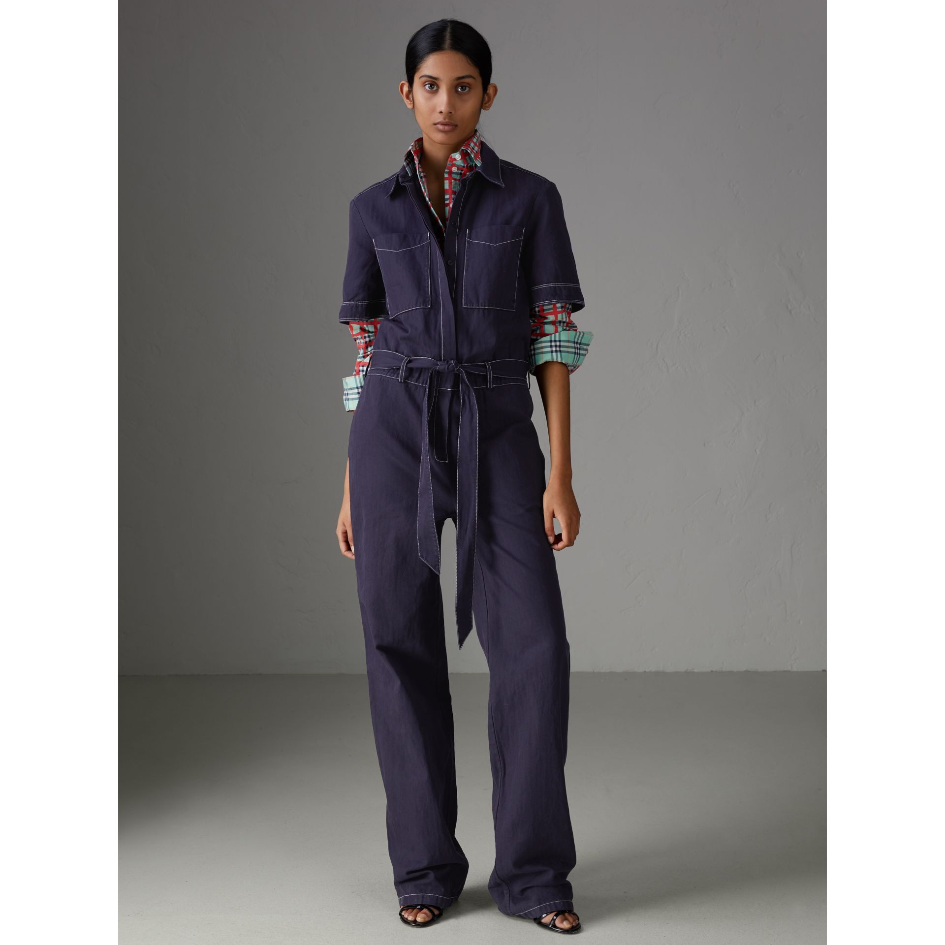 Cotton Linen Workwear Jumpsuit in Deep Indigo - Women | Burberry - gallery image 4