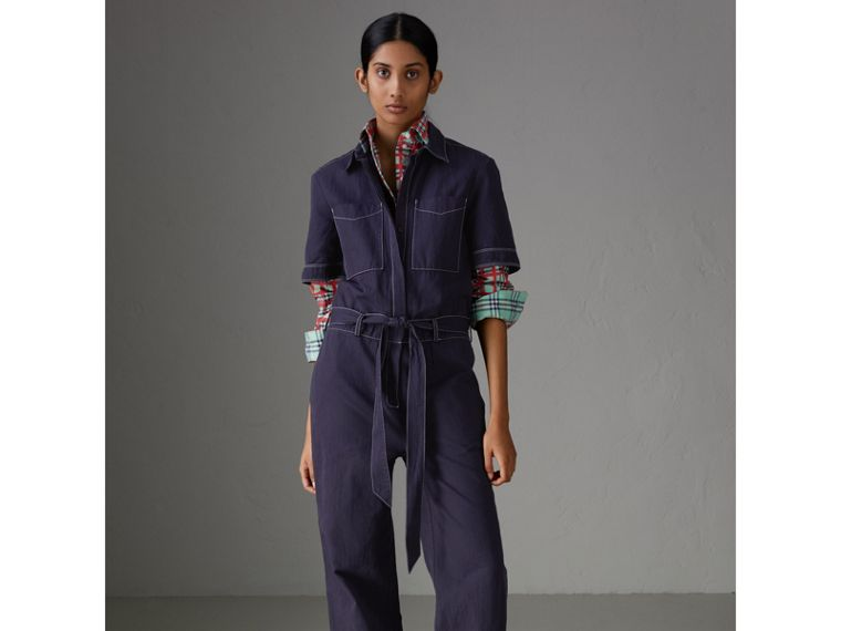 Cotton Linen Workwear Jumpsuit in Deep Indigo - Women | Burberry - cell image 4