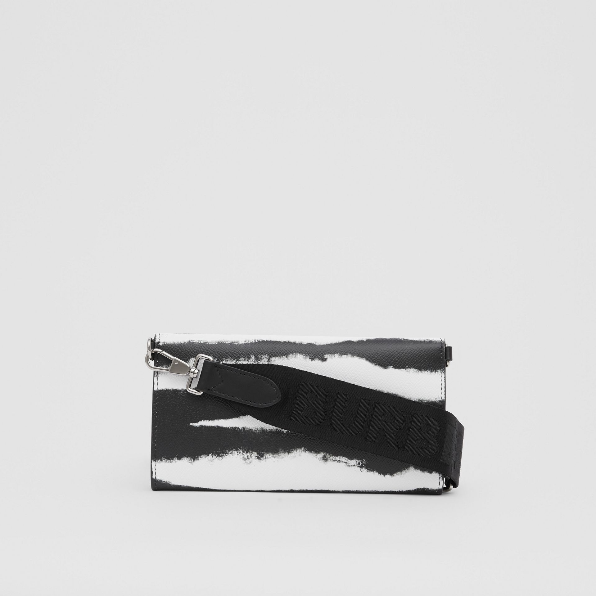 Watercolour Print Leather Wallet with Detachable Strap in Black/white | Burberry - gallery image 10