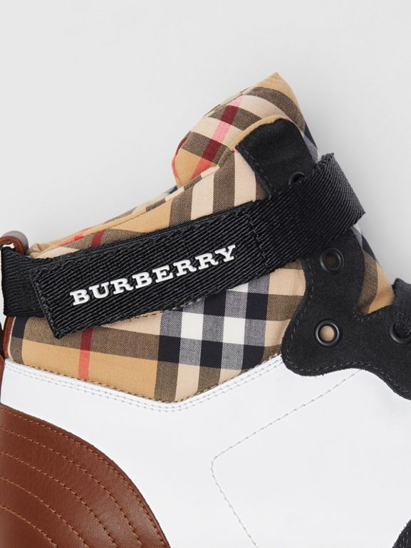 Leather and Suede High-top Sneakers in Optic White/camel - Men | Burberry Singapore - cell image 1