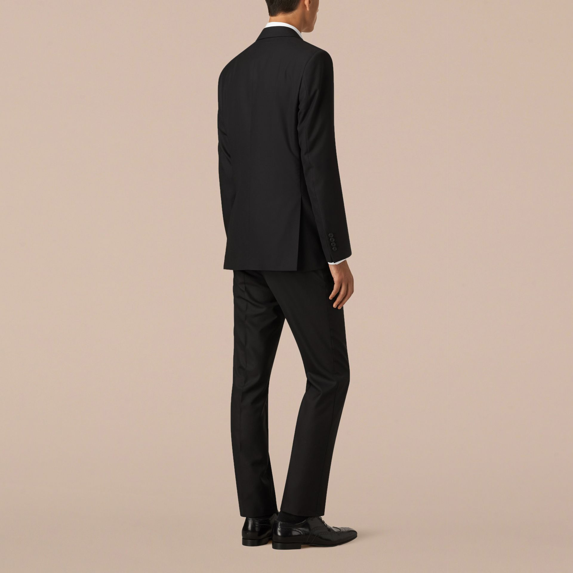 Black Classic Fit Wool Part-canvas Suit Black - gallery image 3