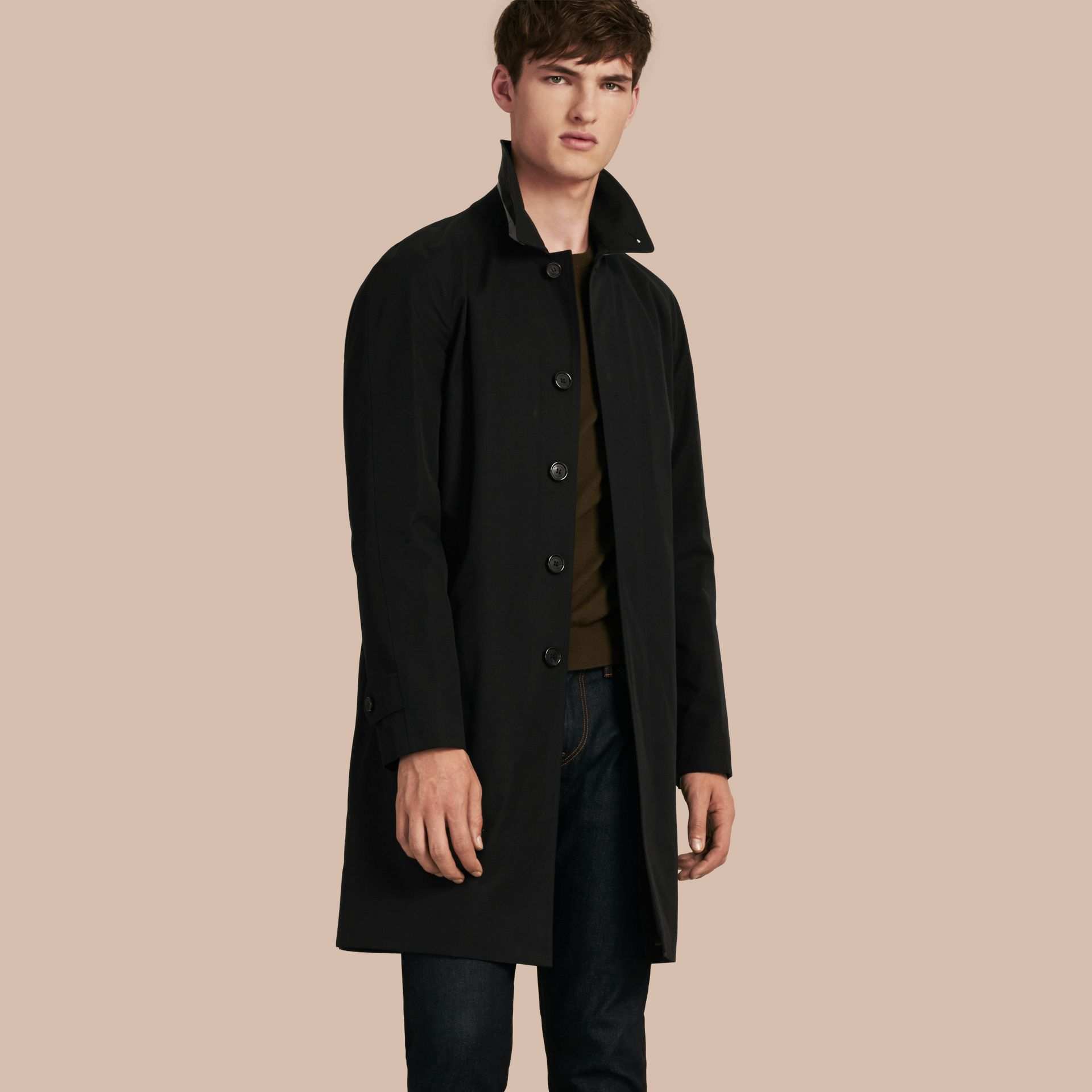 Long Cotton Gabardine Car Coat in Black - gallery image 1