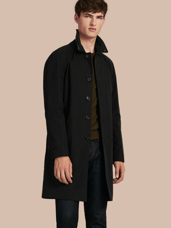 Long Cotton Gabardine Car Coat in Black
