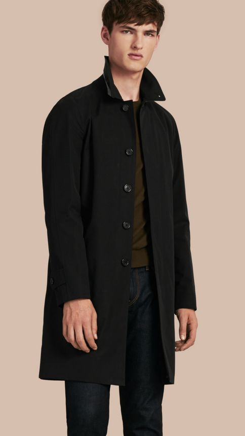 Black Long Cotton Gabardine Car Coat Black - Image 1
