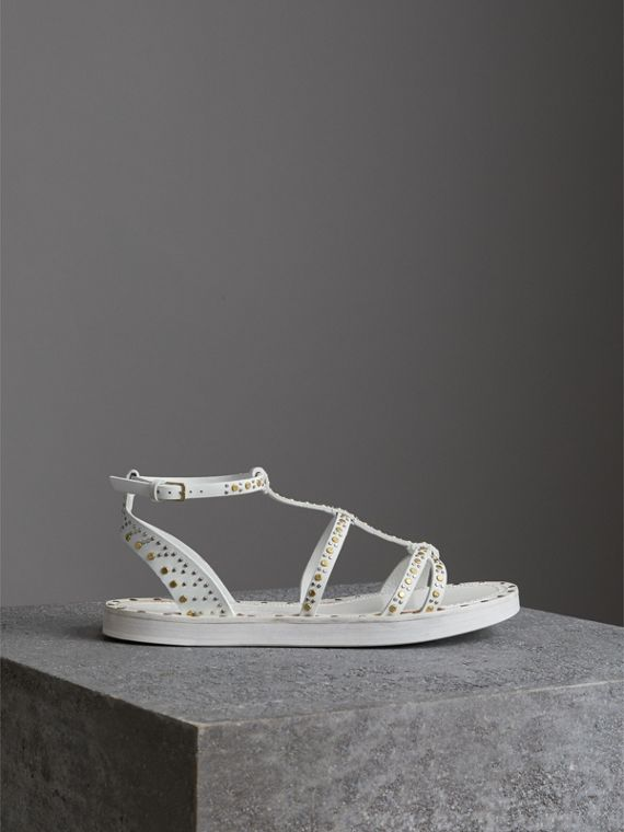 Riveted Leather Gladiator Sandals in Optic White - Women | Burberry Australia - cell image 3