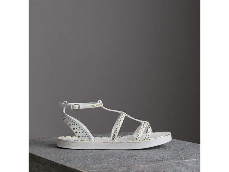 Riveted Leather Gladiator Sandals in Optic White - Women | Burberry - cell image 4