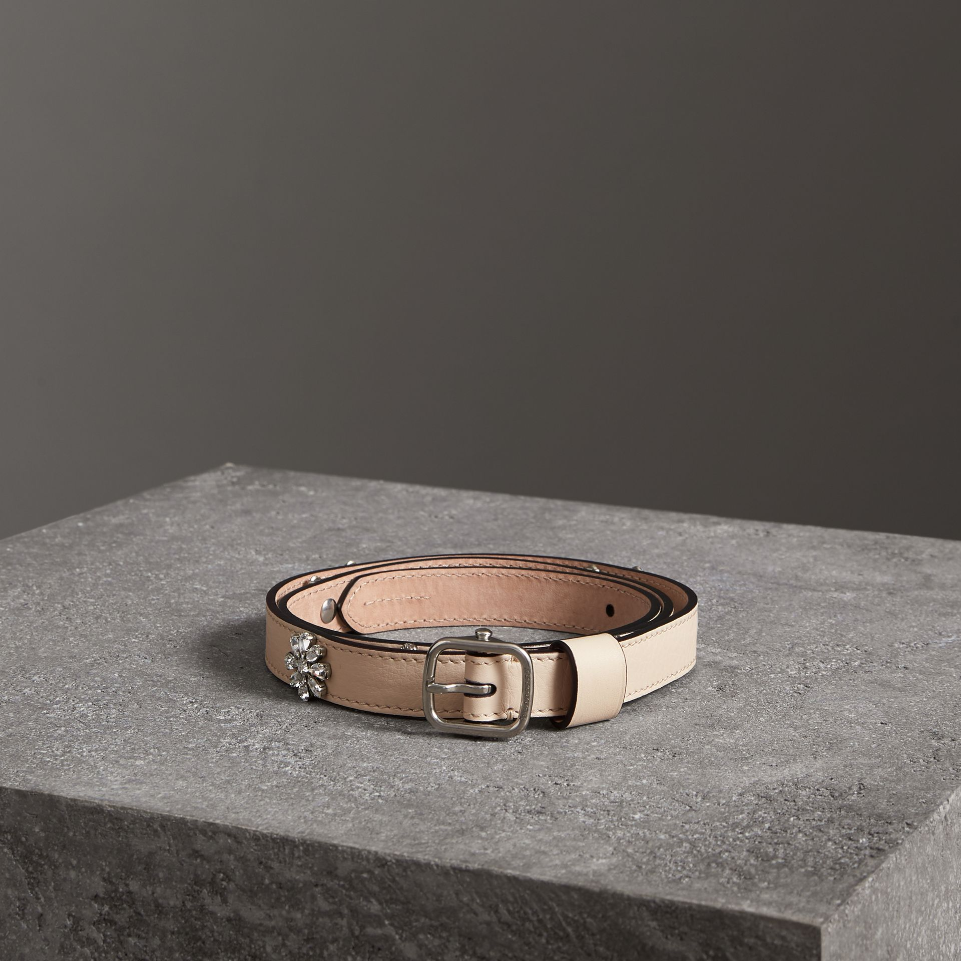 Crystal Daisy Leather Belt in Stone - Women | Burberry - gallery image 0