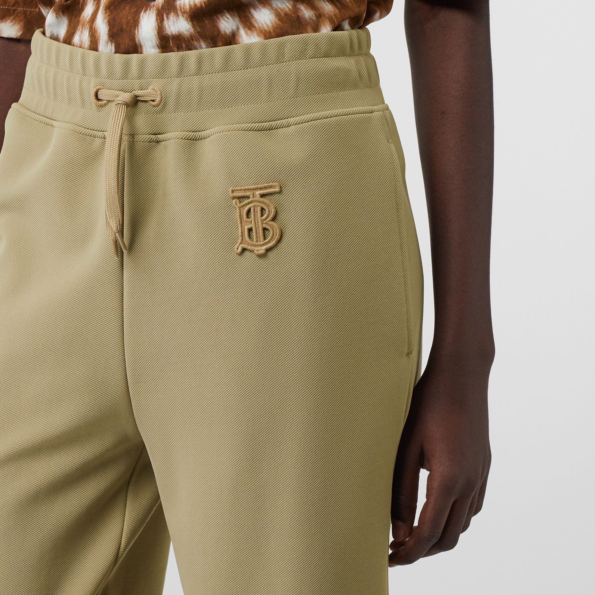 Monogram Motif Technical Trackpants in Camel - Women | Burberry - gallery image 1