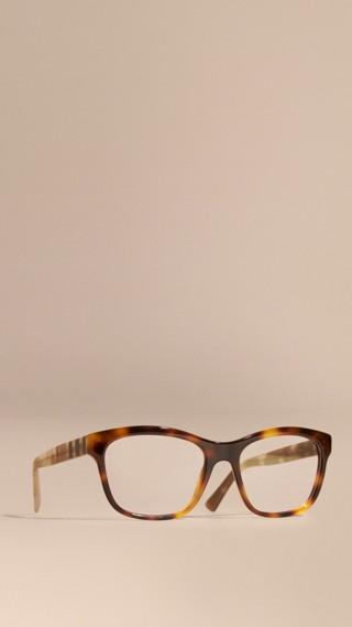 Monture carrée à motif check pour lunettes de vue