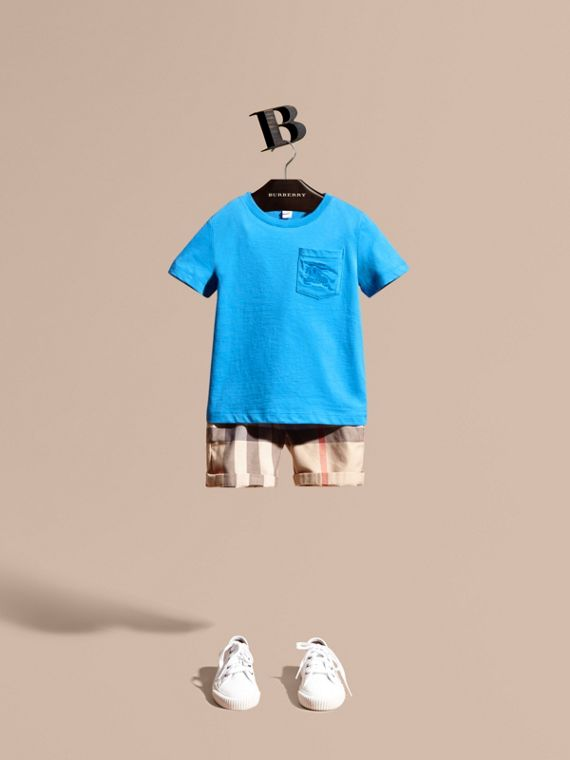 Crew Neck Cotton T-shirt Chalk Blue