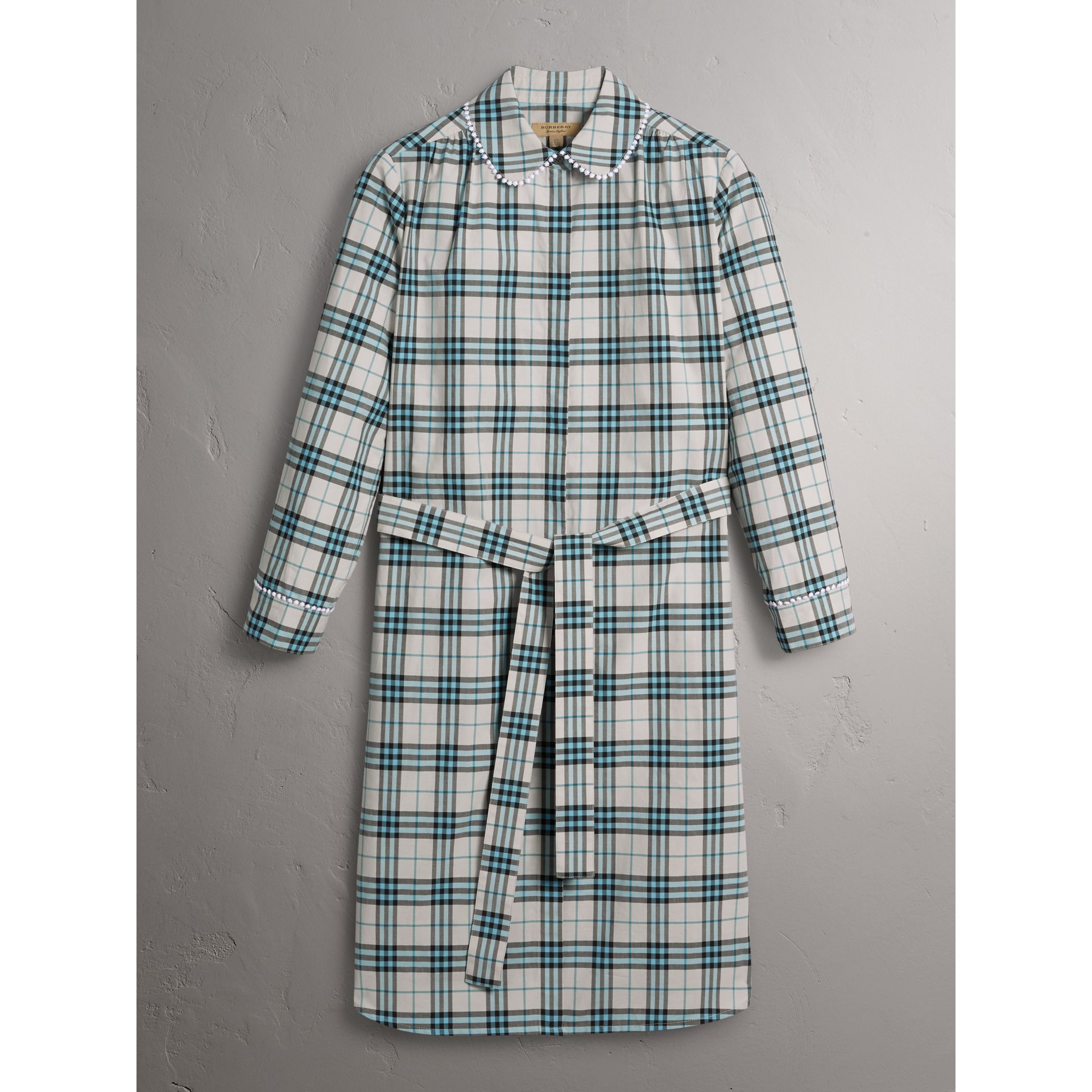 Lace Trim Collar Check Cotton Shirt Dress in Pale Stone - Women | Burberry - gallery image 3
