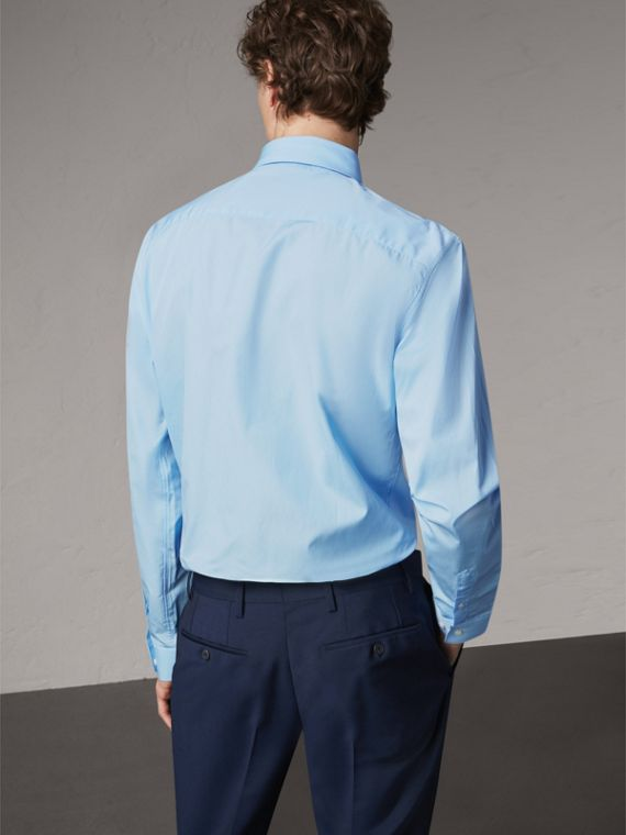 Modern Fit Cotton Poplin Shirt in City Blue - Men | Burberry Hong Kong - cell image 2