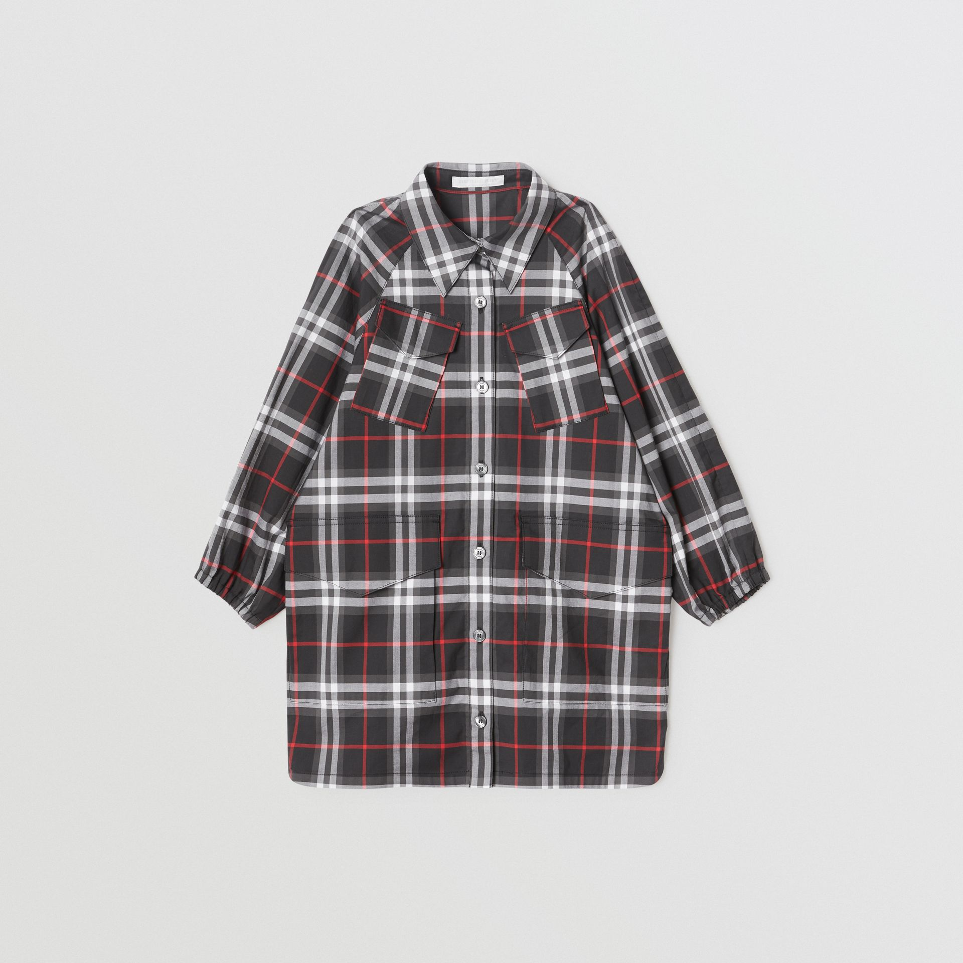 Vintage Check Cotton Shirt Dress in Black | Burberry United States - gallery image 0