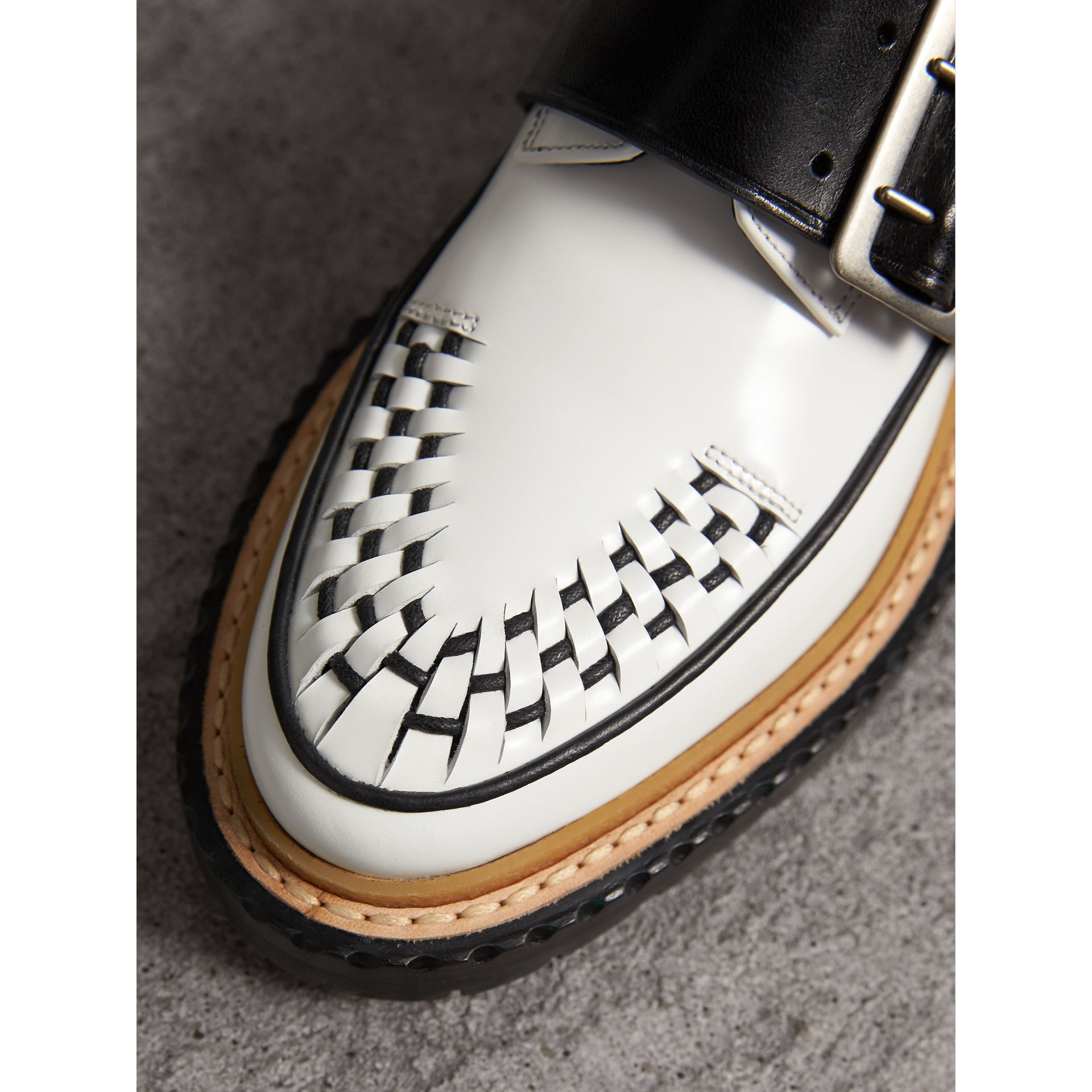 Buckle Detail Woven-toe Leather Shoes in Off White - Women | Burberry - gallery image 1