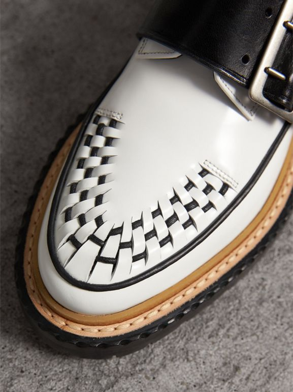 Buckle Detail Woven-toe Leather Shoes in Off White - Women | Burberry - cell image 1