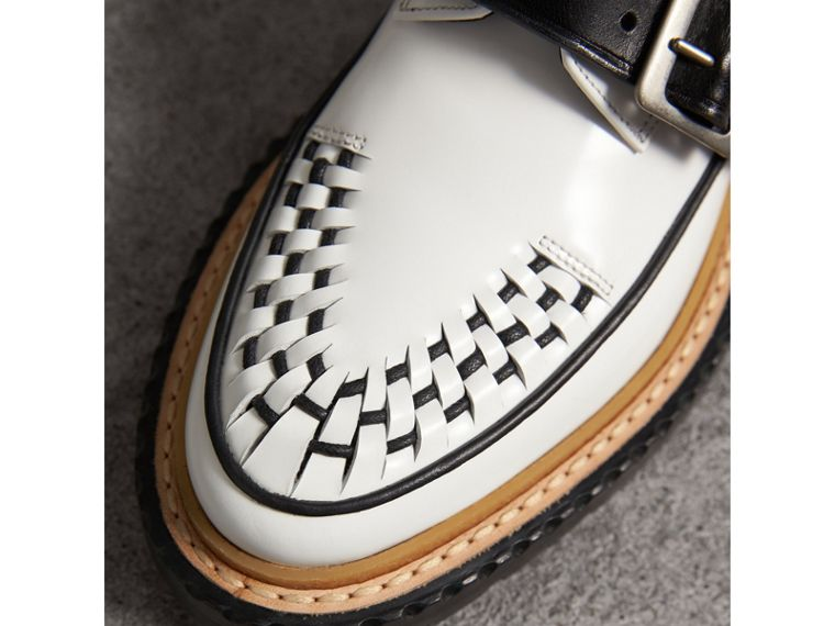 Buckle Detail Woven-toe Leather Shoes in Off White - Women | Burberry Australia - cell image 1