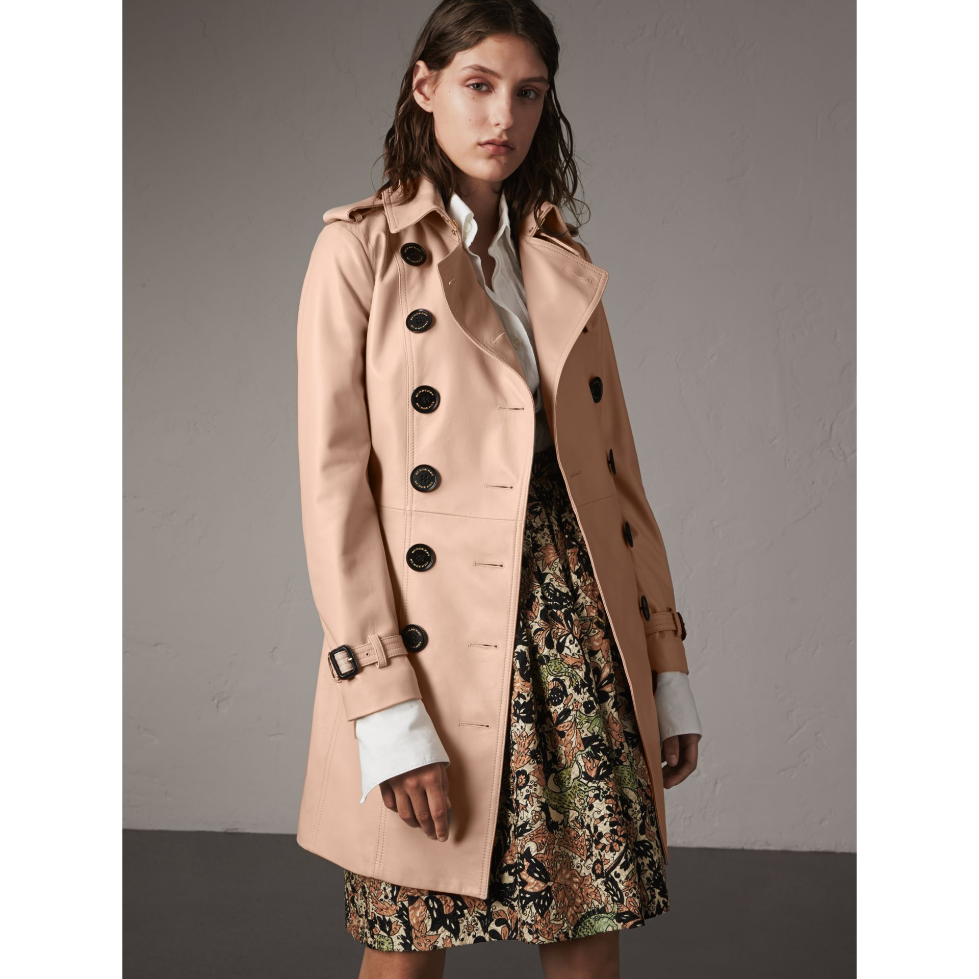 Lambskin Trench Coat in Pale Nude - Women | Burberry - gallery image 7