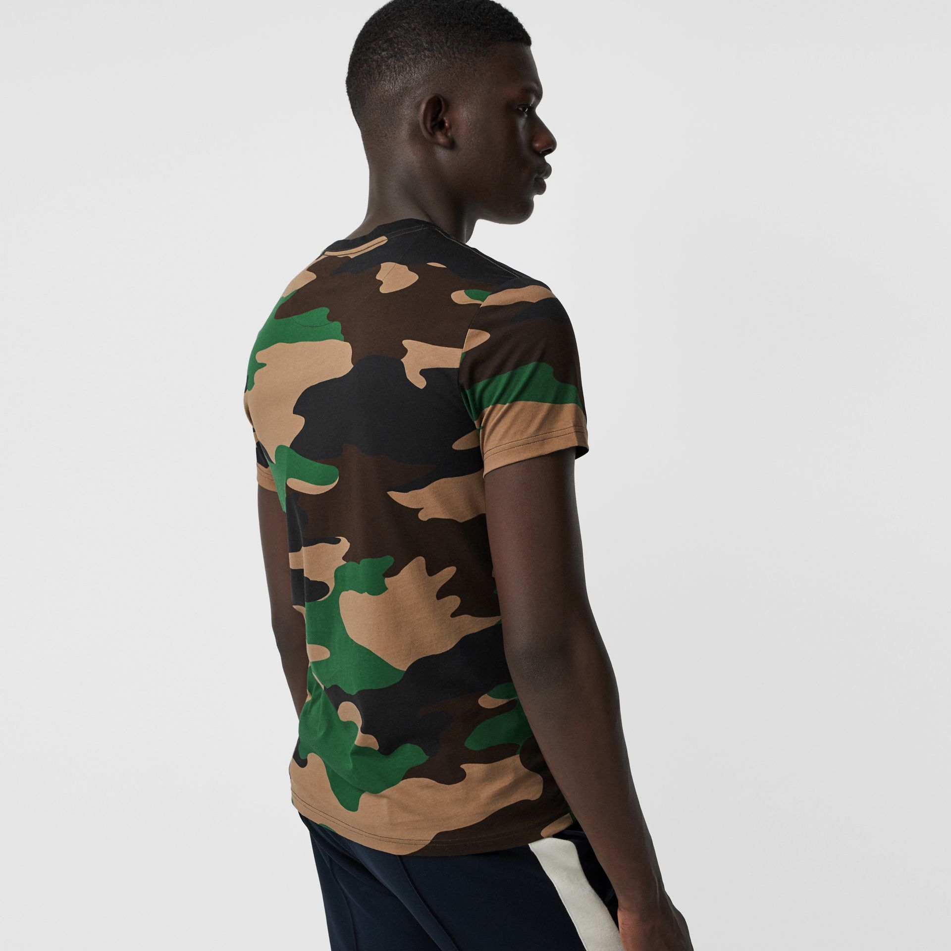 Camouflage Print Cotton T-shirt in Forest Green - Men | Burberry Singapore - gallery image 2