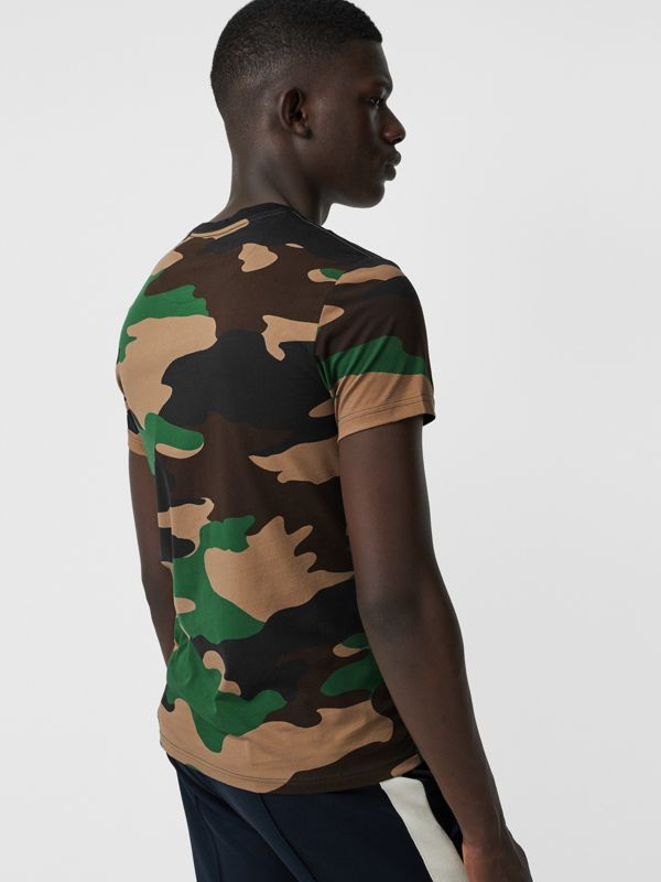 Camouflage Print Cotton T-shirt in Forest Green - Men | Burberry Australia - cell image 2