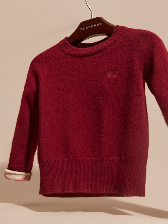 Mahogany red Check Cuff Cashmere Sweater Mahogany Red - cell image 2
