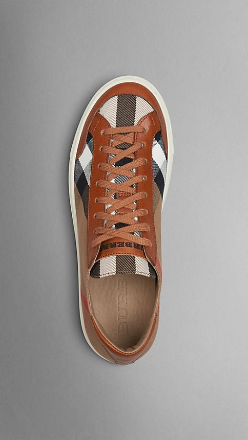 Tan House Check Canvas Trainers - Image 3