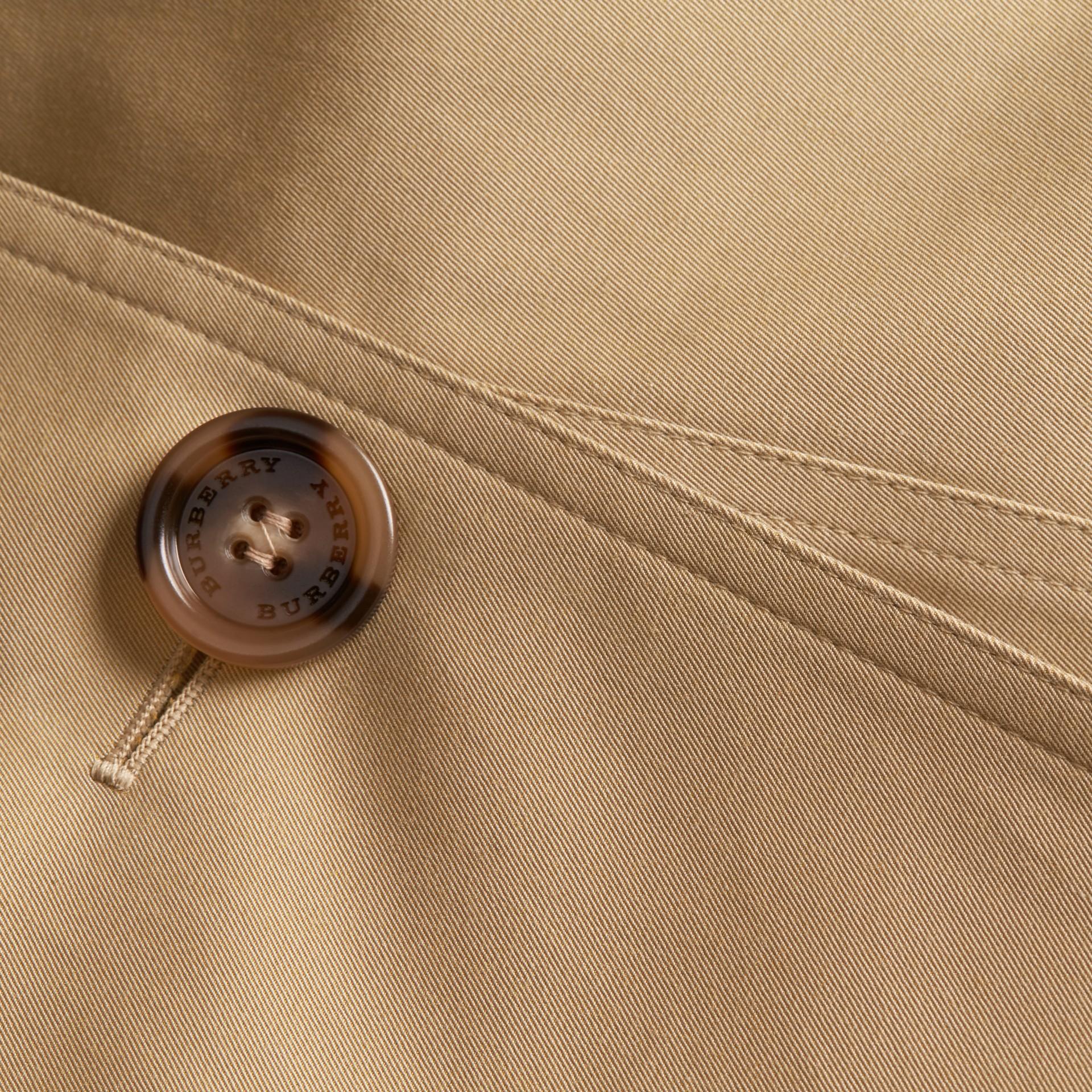 Leather Trim Cotton Gabardine Trench Coat Honey - gallery image 2