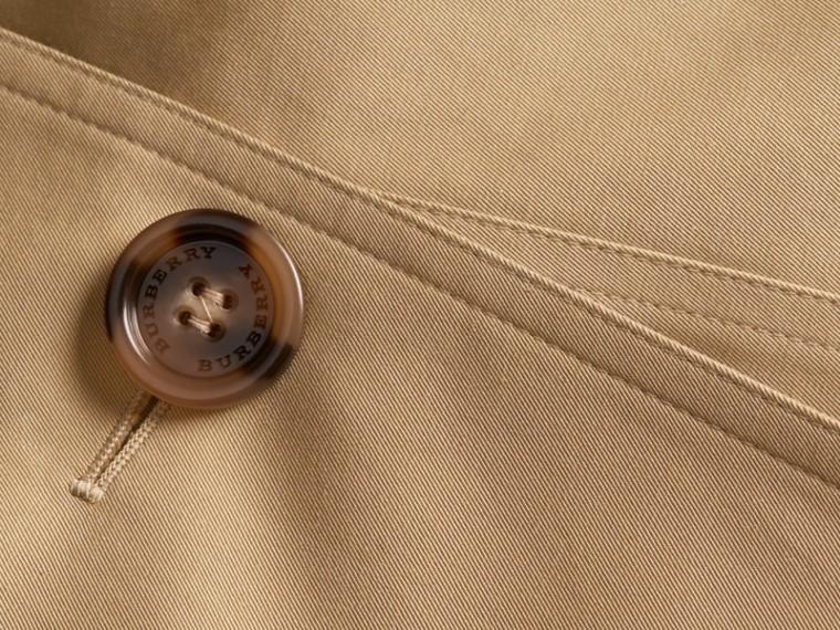 Leather Trim Cotton Gabardine Trench Coat Honey - cell image 1