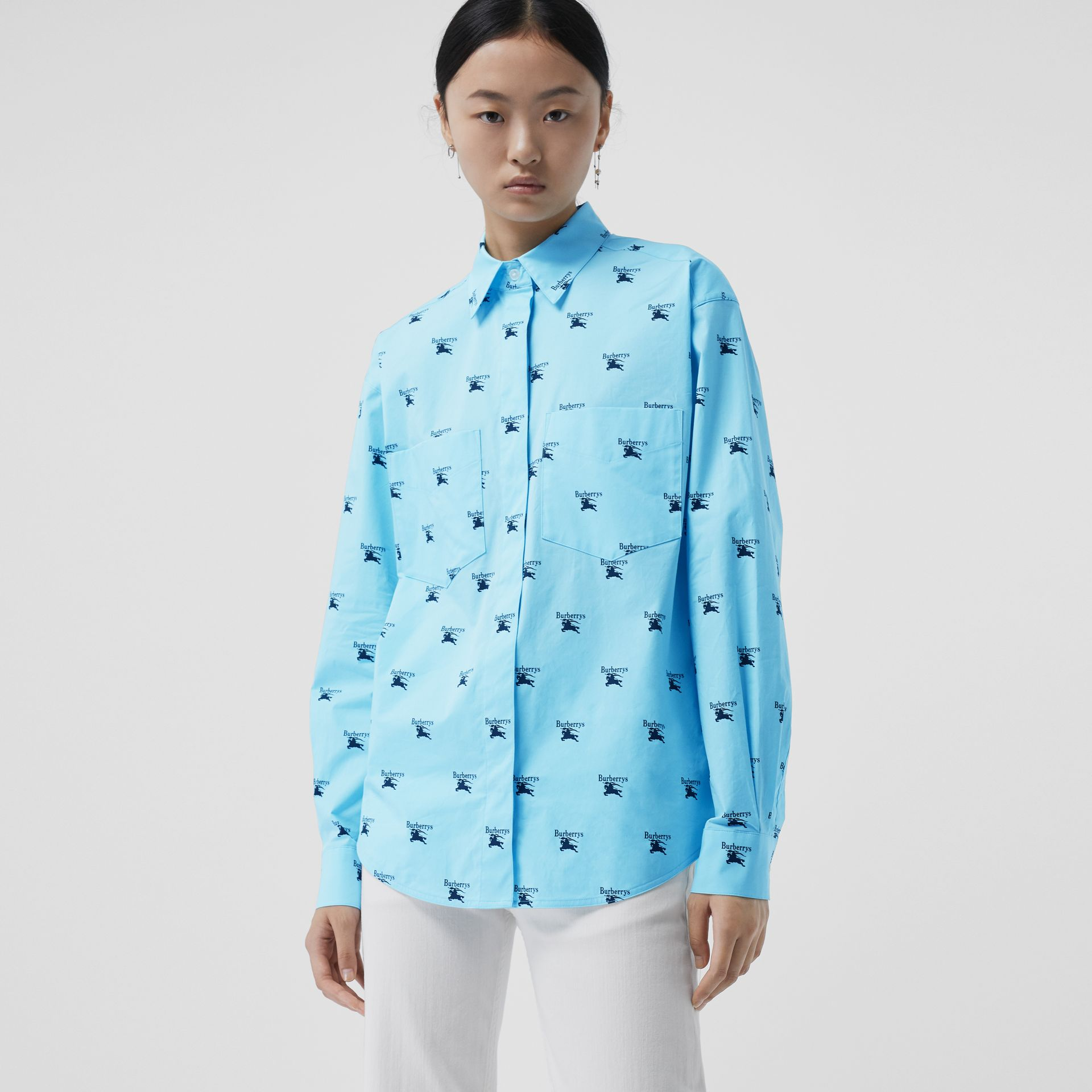 Logo Print Stretch Cotton Shirt in Sky Blue - Women | Burberry - gallery image 4