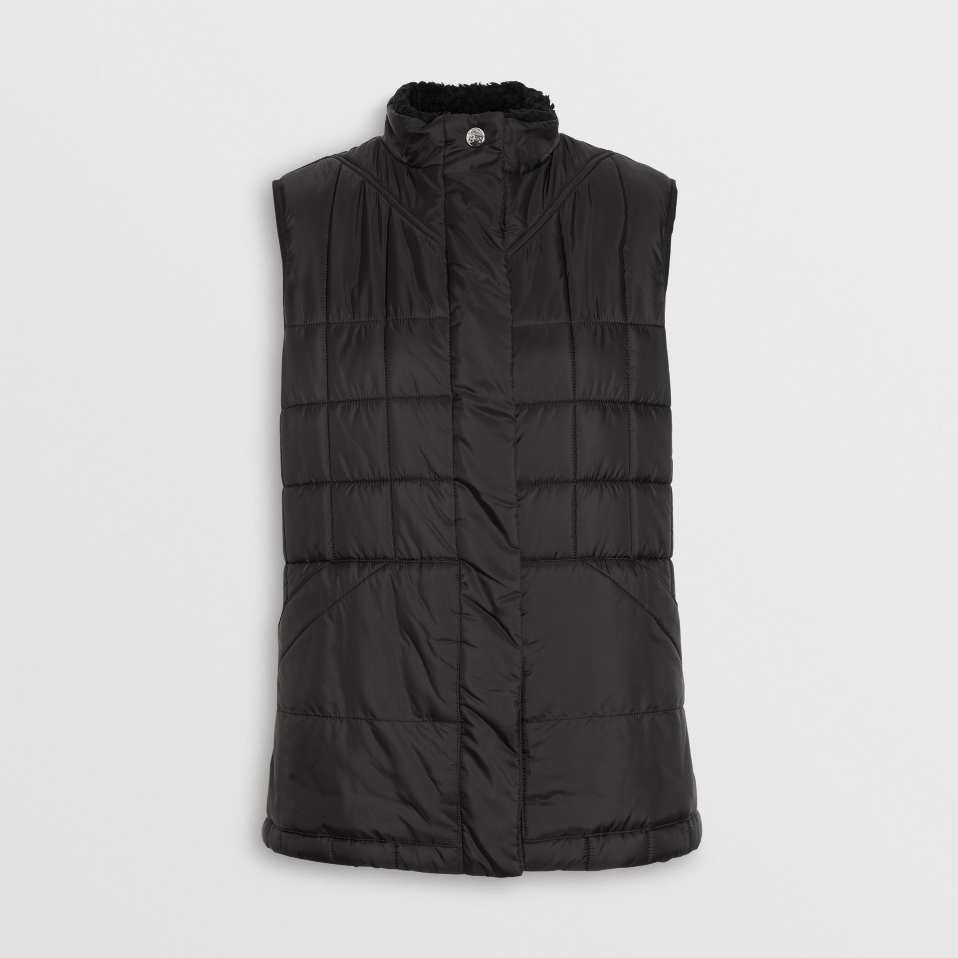 Faux Shearling Collar Lightweight Quilted Gilet in Black - Women | Burberry - gallery image 6