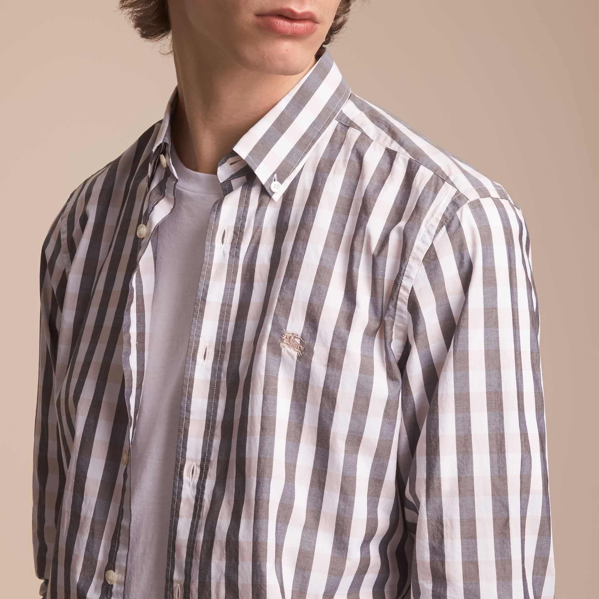 Button-down Collar Gingham Cotton Shirt in Chalk Pink - Men | Burberry - gallery image 4