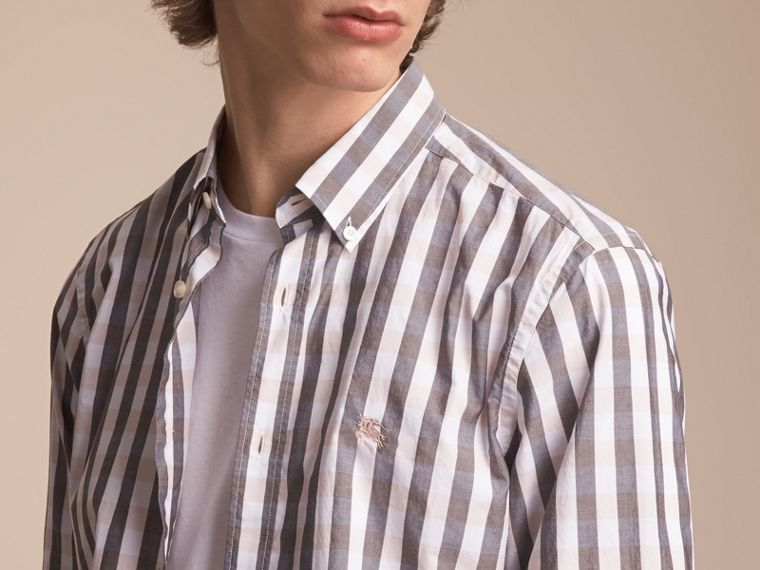 Button-down Collar Gingham Cotton Shirt in Chalk Pink - Men | Burberry - cell image 4