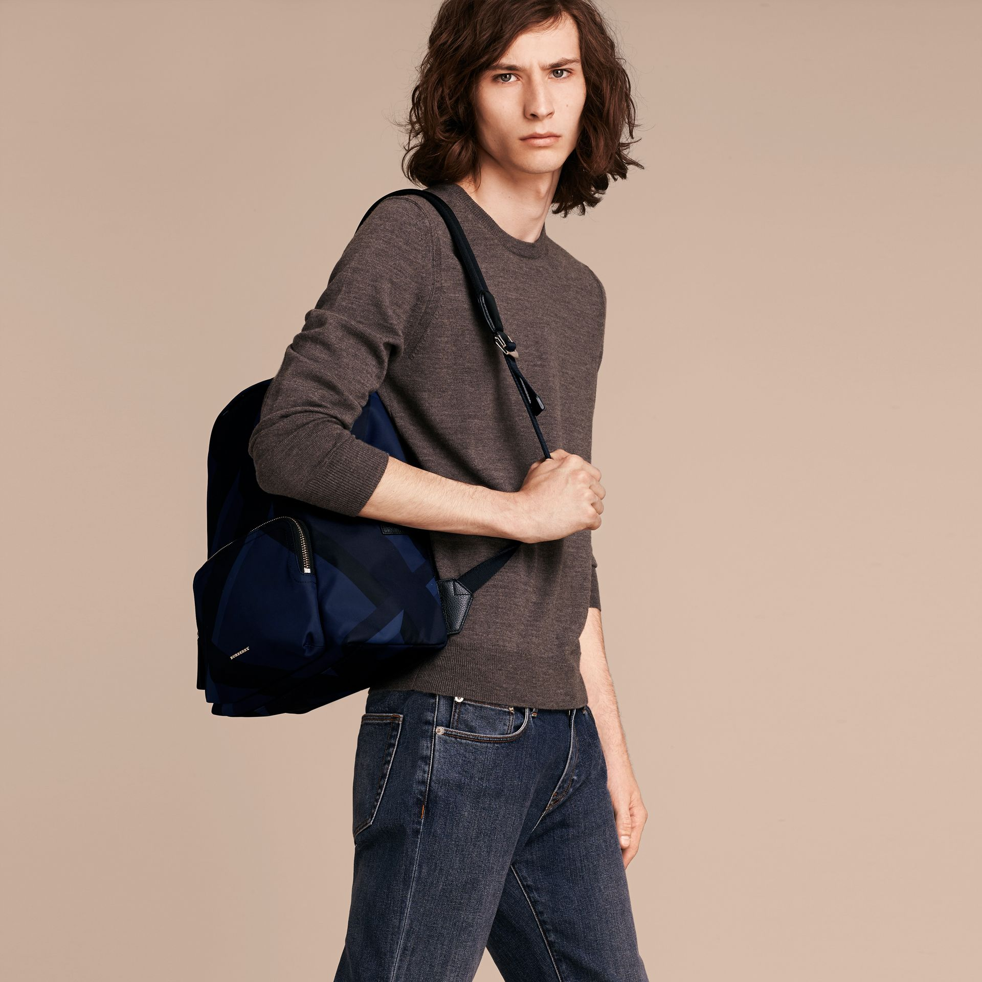 Navy check Leather Trim Check Print Backpack - gallery image 3