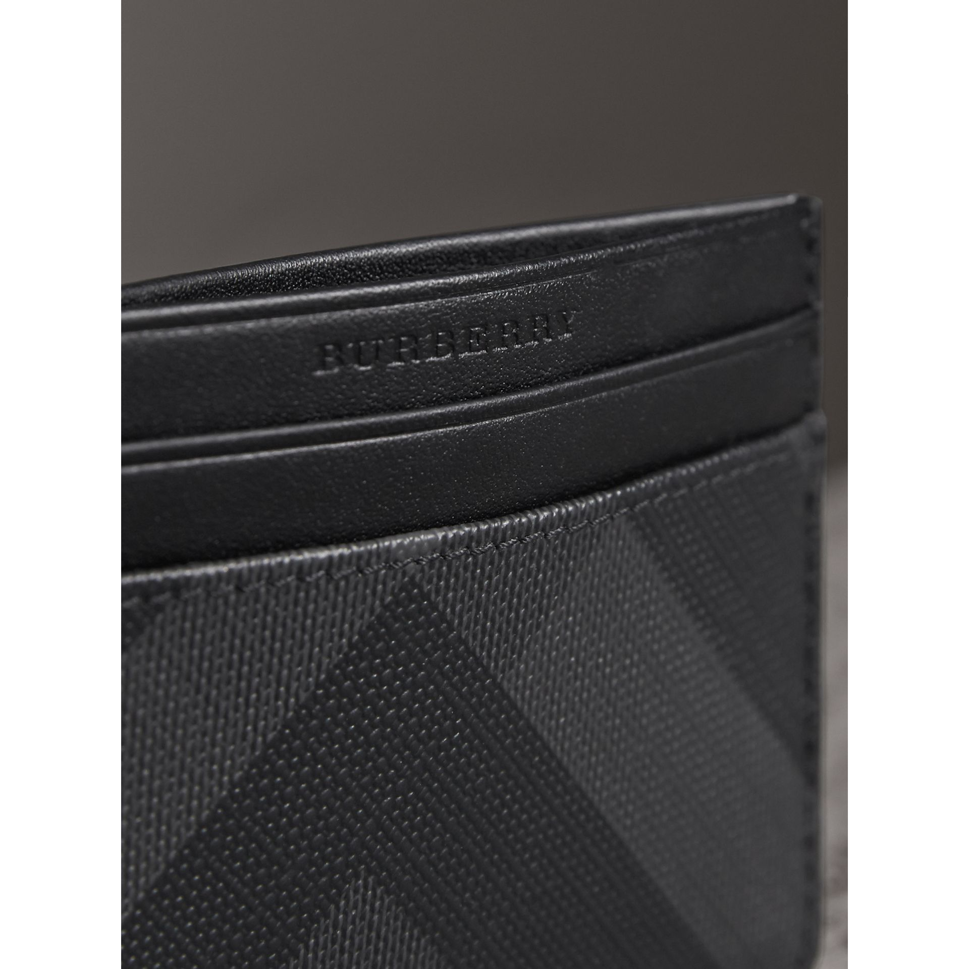 London Check Card Case in Charcoal/black - Men | Burberry Singapore - gallery image 1