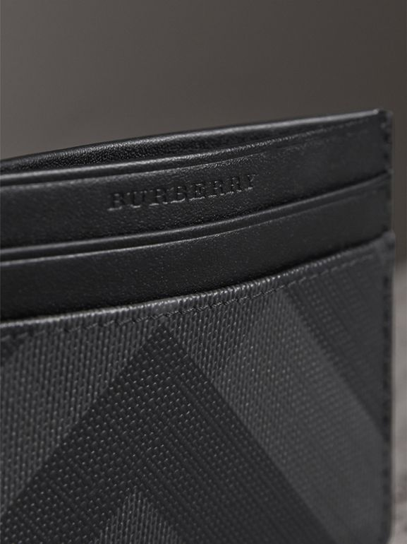 London Check Card Case in Charcoal/black - Men | Burberry United Kingdom - cell image 1