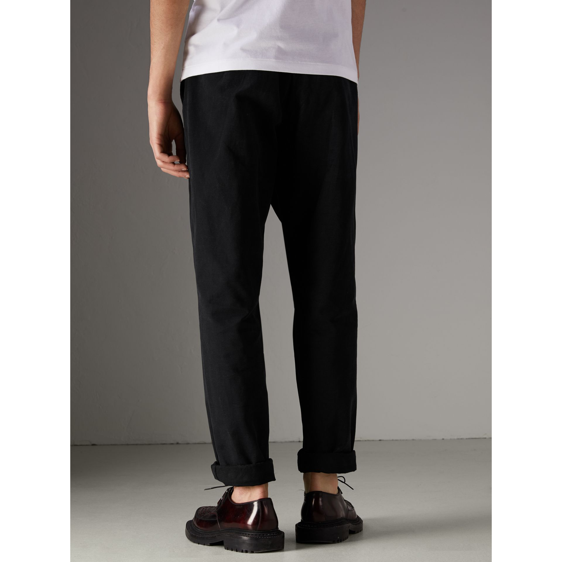 Cotton Canvas Wide Leg Trousers in Black - Men | Burberry - gallery image 2