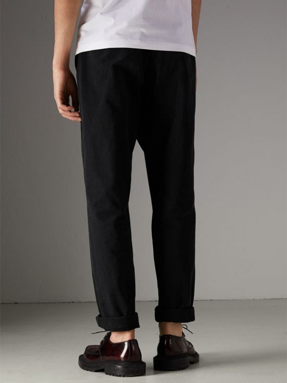 Cotton Canvas Wide Leg Trousers in Black - Men | Burberry United Kingdom - cell image 2