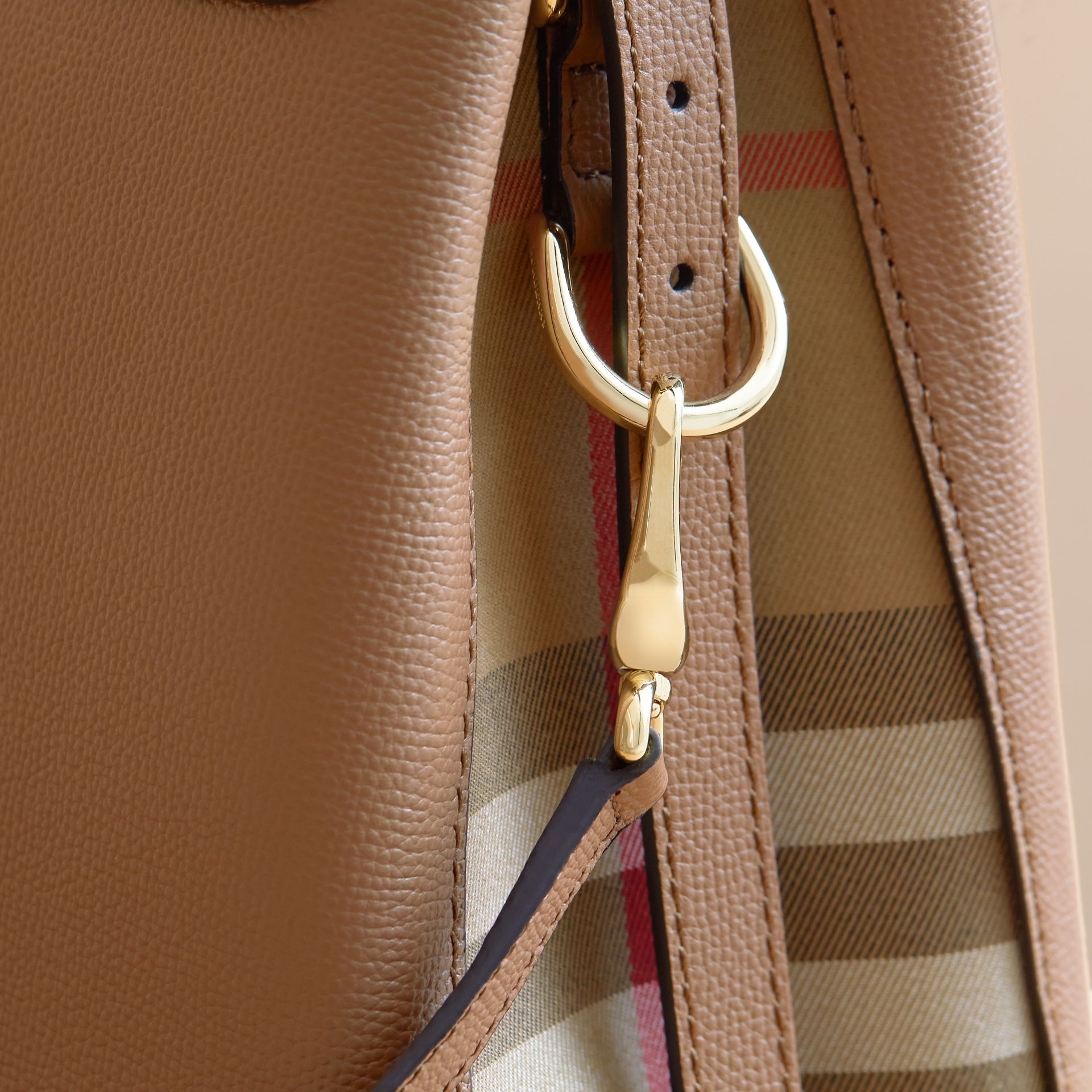 Medium Grainy Leather and House Check Tote Bag in Dark Sand - Women | Burberry - gallery image 2