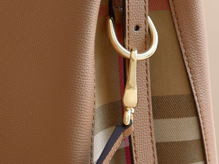 Medium Grainy Leather and House Check Tote Bag in Dark Sand - Women | Burberry Australia - cell image 1