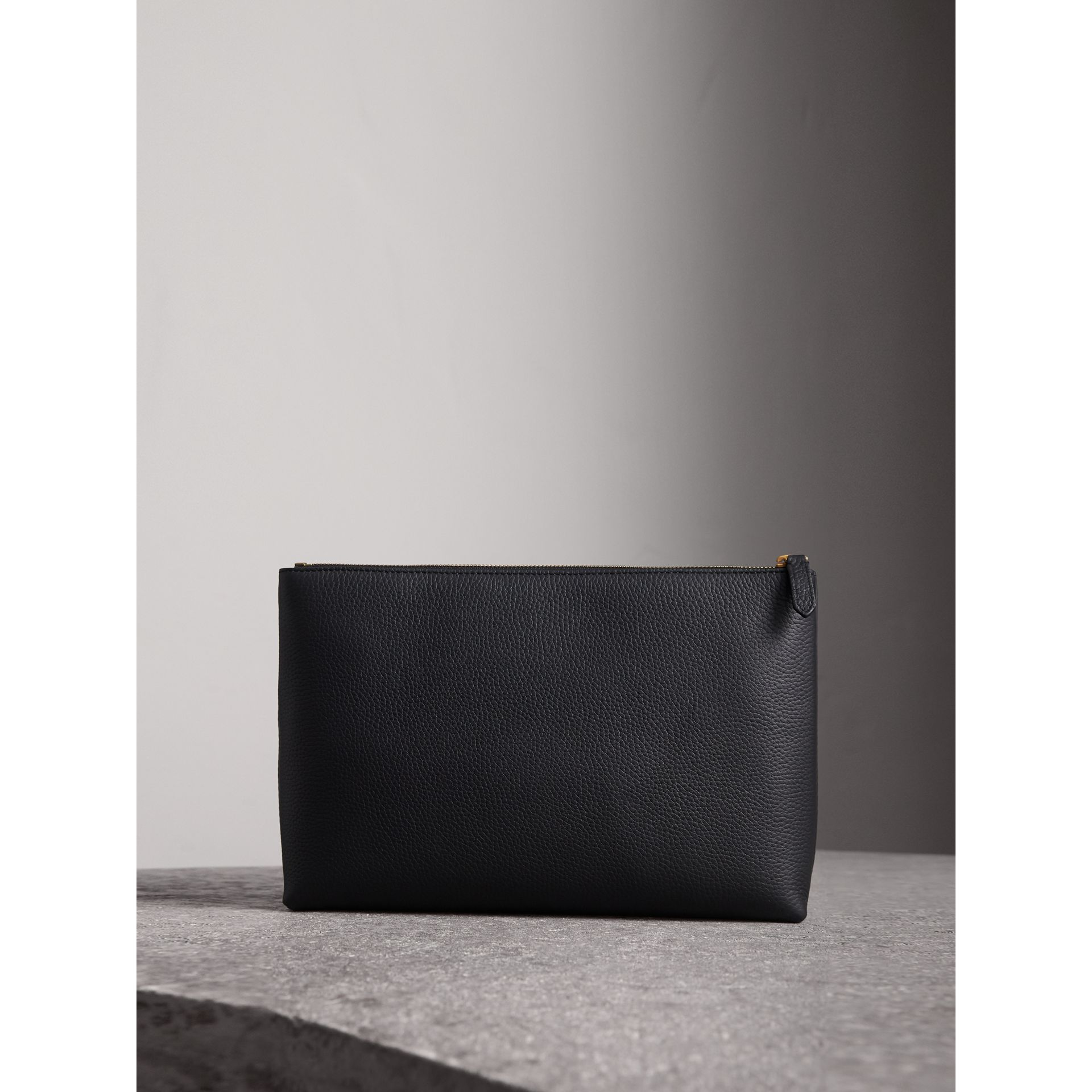 Large Embossed Leather Zip Pouch in Black | Burberry Australia - gallery image 2