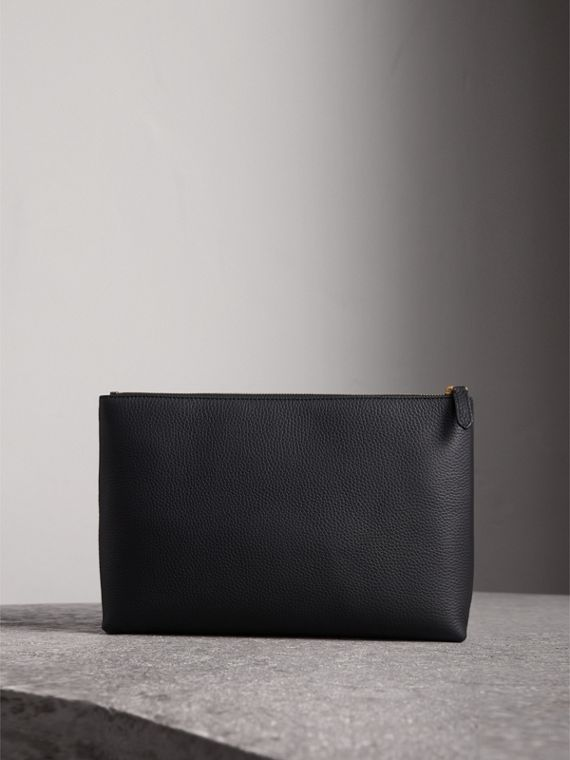 Large Embossed Leather Zip Pouch in Black | Burberry - cell image 2