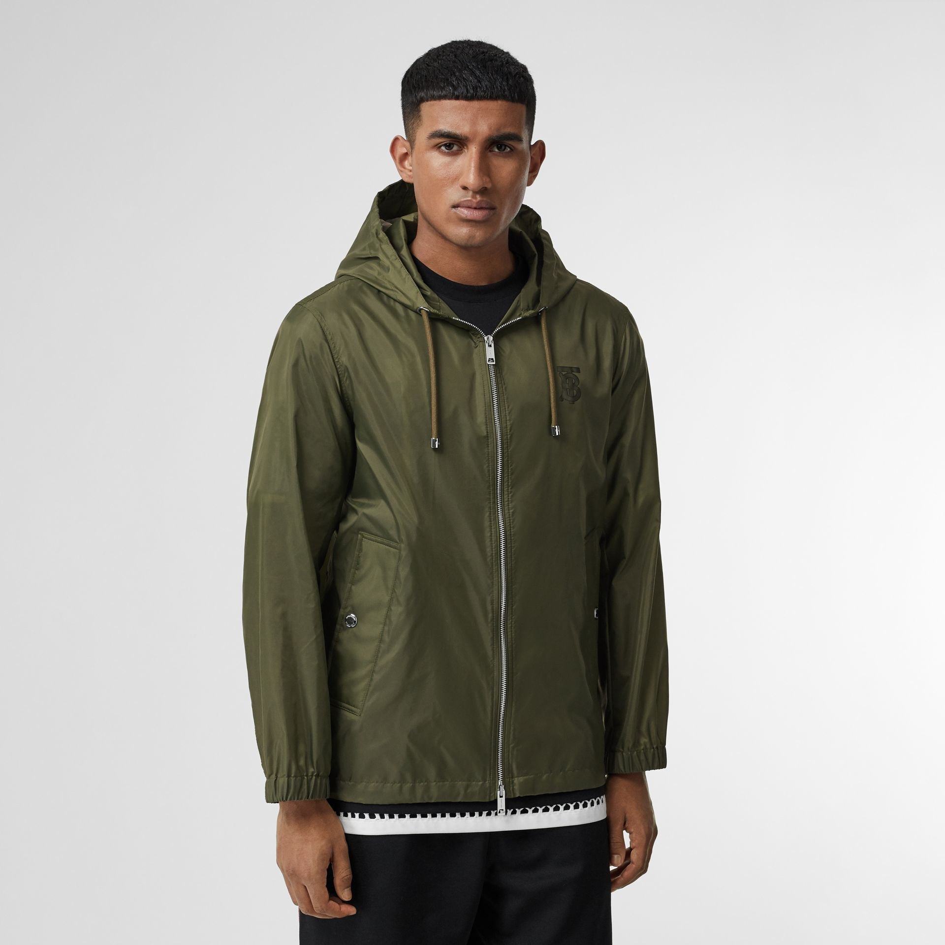 Monogram Motif Lightweight Hooded Jacket in Light Olive - Men | Burberry United Kingdom - gallery image 5