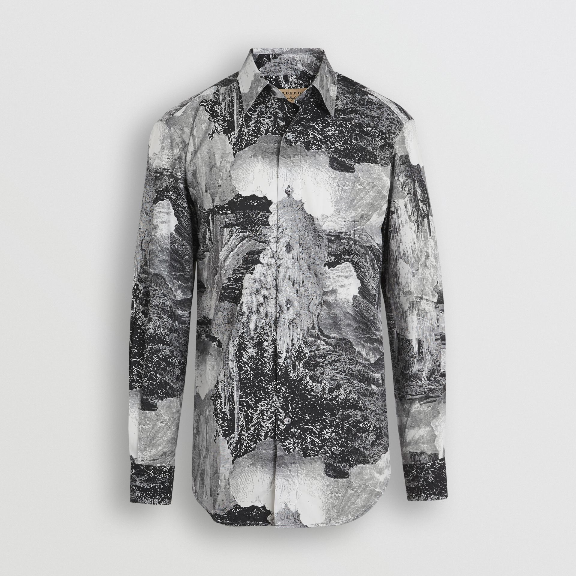 Dreamscape Print Cotton Silk Shirt in Black - Men | Burberry Australia - gallery image 3