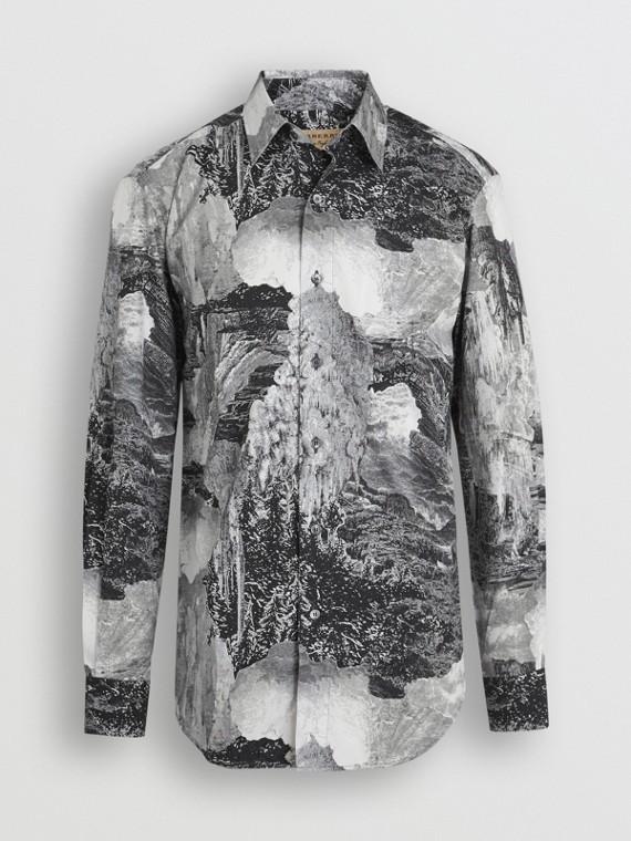 Dreamscape Print Cotton Silk Shirt in Black