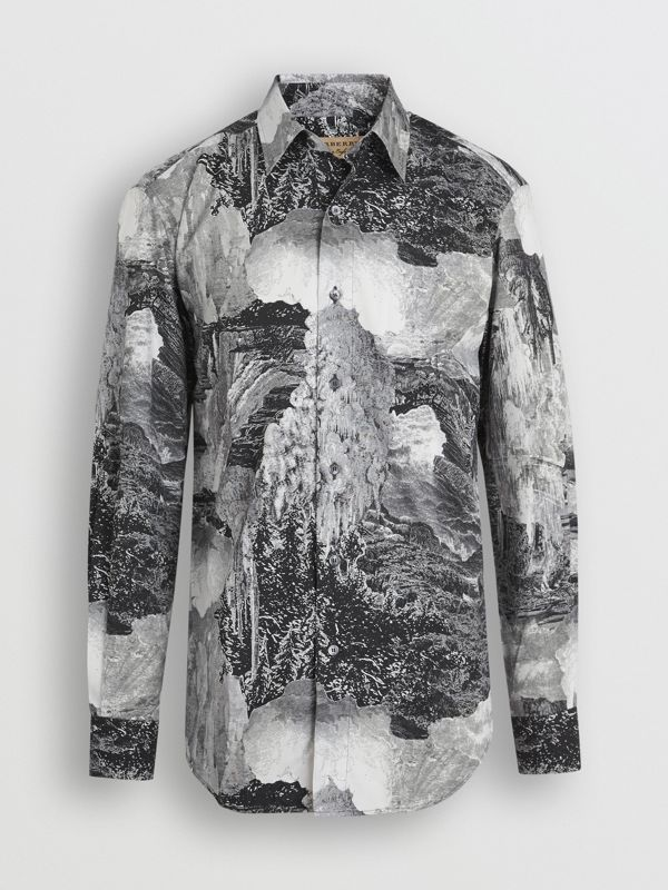 Dreamscape Print Cotton Silk Shirt in Black - Men | Burberry United Kingdom - cell image 3
